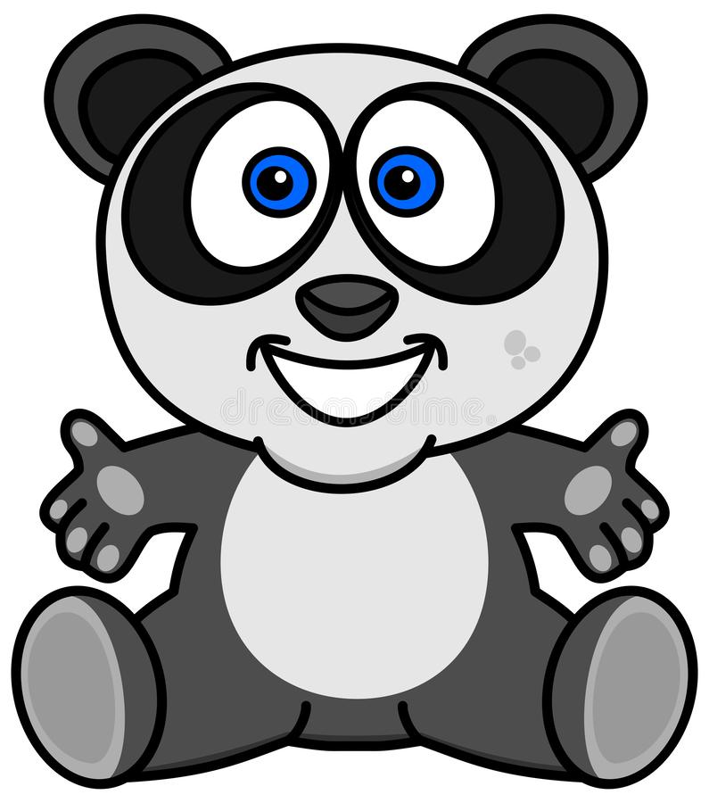 Una sonrisa y una panda feliz con los brazos abiertos stock de ilustración