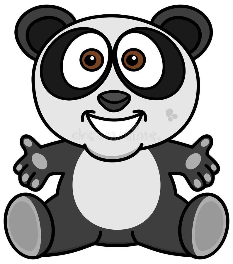 Una sonrisa y una panda feliz con los brazos abiertos libre illustration