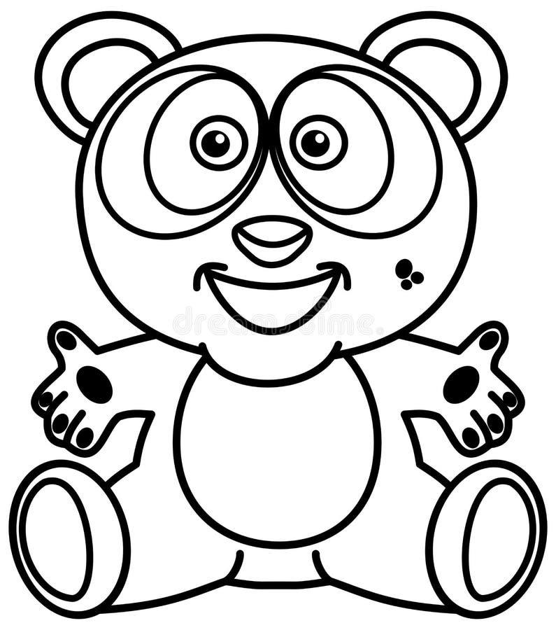 Una sonrisa y una panda feliz en blanco y negro con los brazos abiertos para colorear stock de ilustración