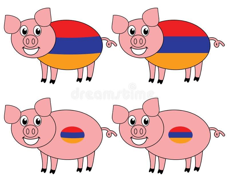 Una sonrisa y un cerdo feliz criados en Armenia ilustración del vector