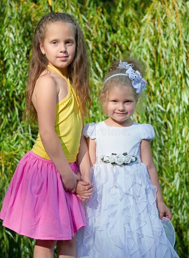 Una sorella di due ragazze che posa nel parco della città, concetto di infanzia, ritratto felice del bambino immagine stock libera da diritti