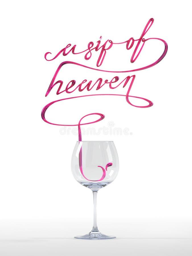 Una sorsata della citazione di cielo con la rappresentazione di vetro di vino 3D fotografie stock