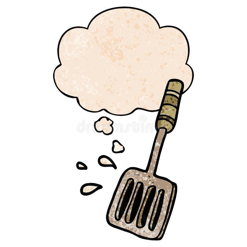 Una spatola da cucina creativa e una bolla di pensiero in stile 'grunge texture' illustrazione vettoriale