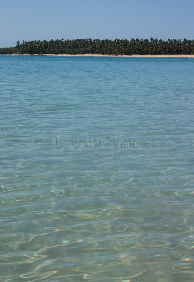 Una spiaggia con gli alberi nella distanza ed il mare nel Tonga immagini stock libere da diritti