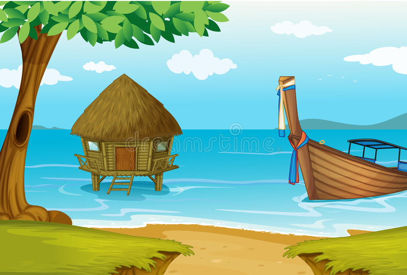 Una spiaggia con un cottage e una barca di legno illustrazione vettoriale