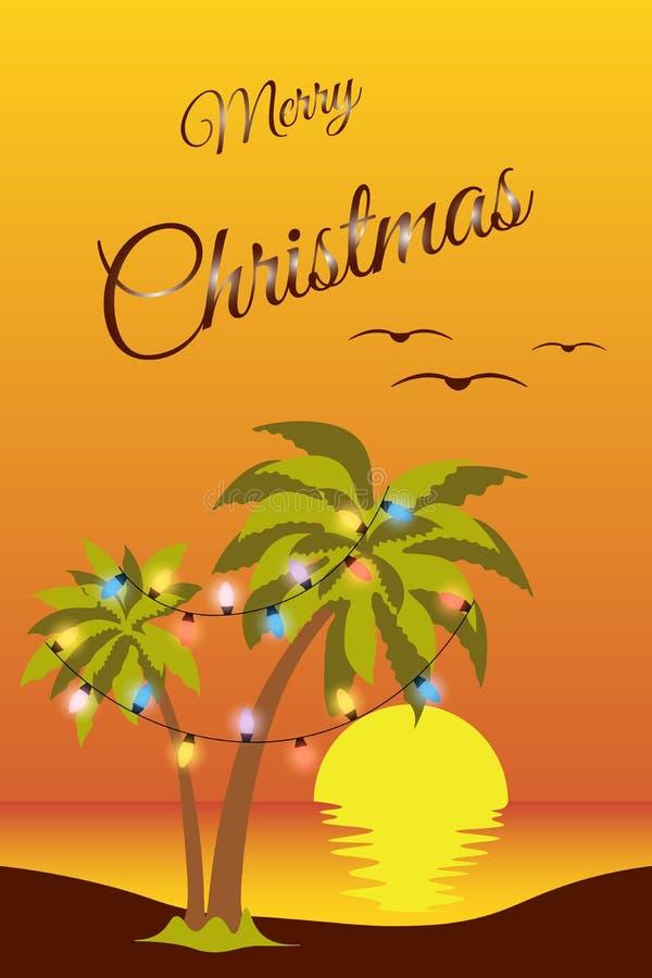 Una spiaggia e una palma tropicali natalizie con un garland sullo sfondo di un mare e di un tramonto rosso Riflessione di un sole illustrazione di stock