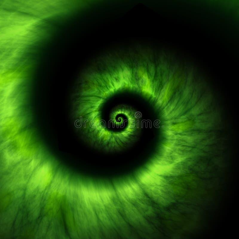 una spirale di energia di luce verde su fondo nero illustrazione vettoriale