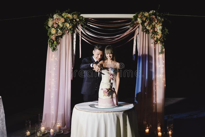 Una sposa e uno sposo sta tagliando la loro torta nunziale Bella torta luce del nicel Arco della stella blu con il nastro blu (in fotografia stock libera da diritti