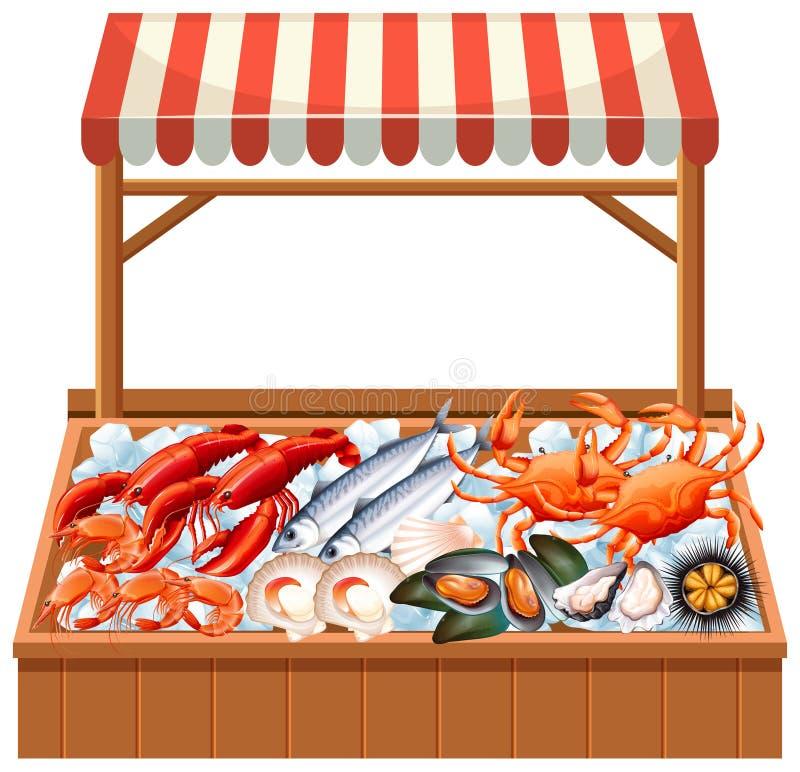 Una stalla dei frutti di mare su fondo bianco royalty illustrazione gratis