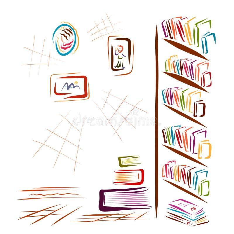 Una stanza con molte libri ed immagini, una biblioteca, una libreria o a royalty illustrazione gratis