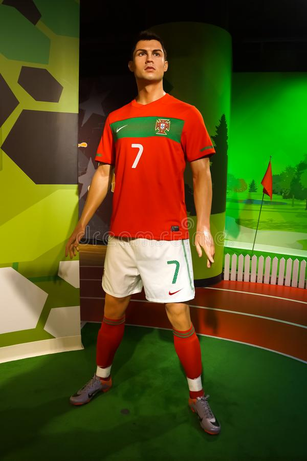 Una statua di cera di Cristiano Ronaldo al museo della cera di signora Tussauds fotografia stock libera da diritti