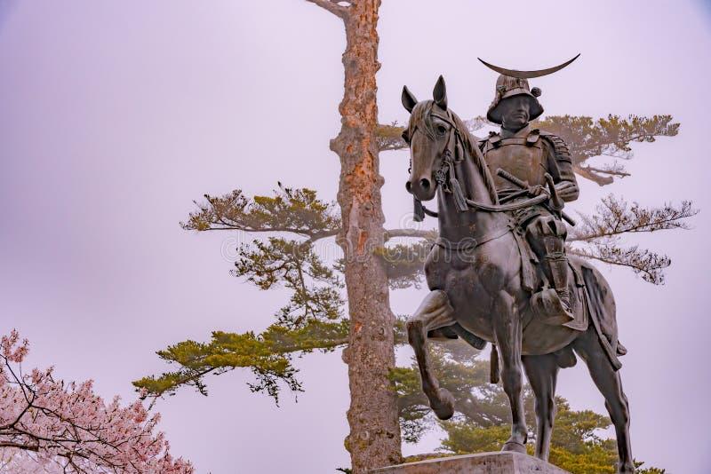 Una statua di Masamune Date a cavallo che registra Sendai Castle in fiore di ciliegia della piena fioritura, parco di Aobayama, S fotografie stock libere da diritti