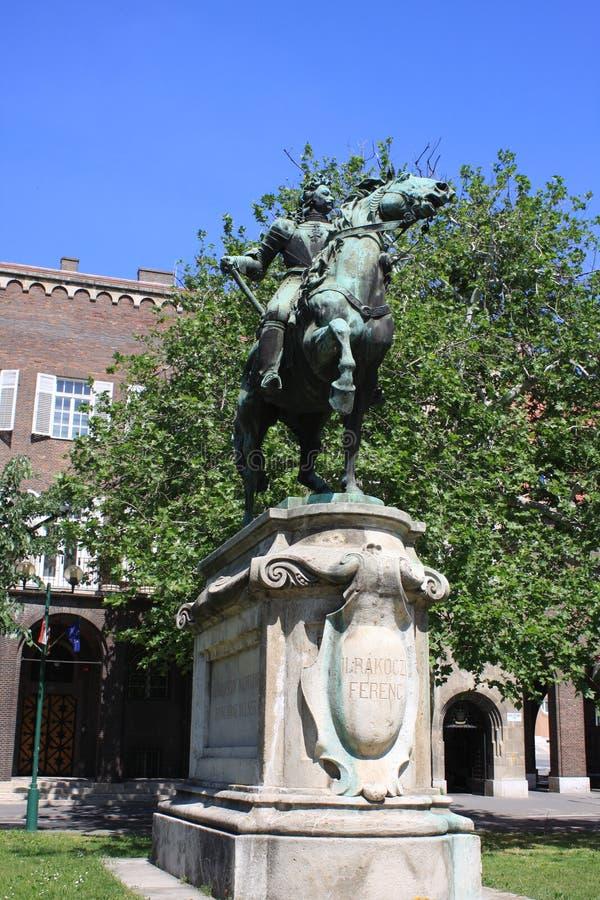 Una statua II di Rakoczi Ferenc in Seghedino, Ungheria, regione di Csongrad fotografia stock
