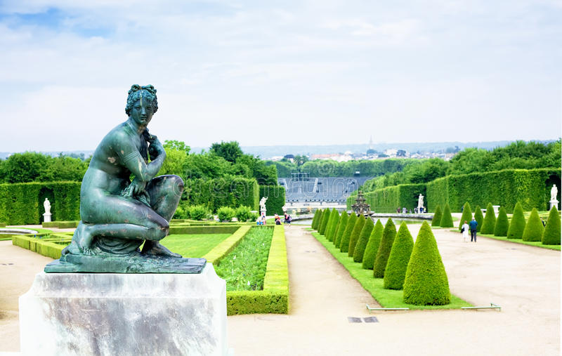 Una statua a Versailles fotografie stock