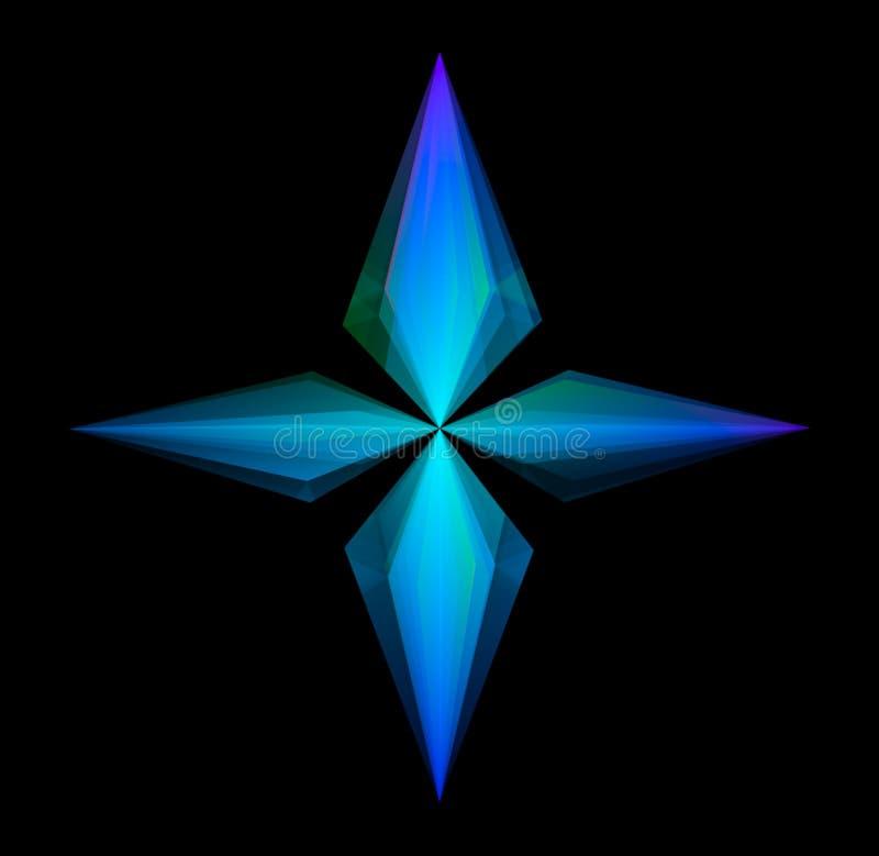 Una stella d'ardore di quattro punti isolata sul nero illustrazione di stock