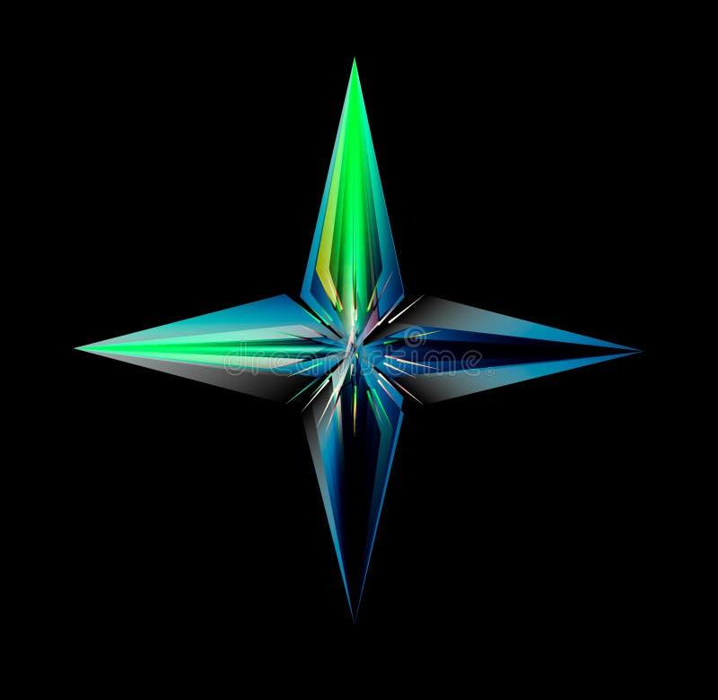 Una stella d'ardore di quattro punti isolata sul nero illustrazione vettoriale