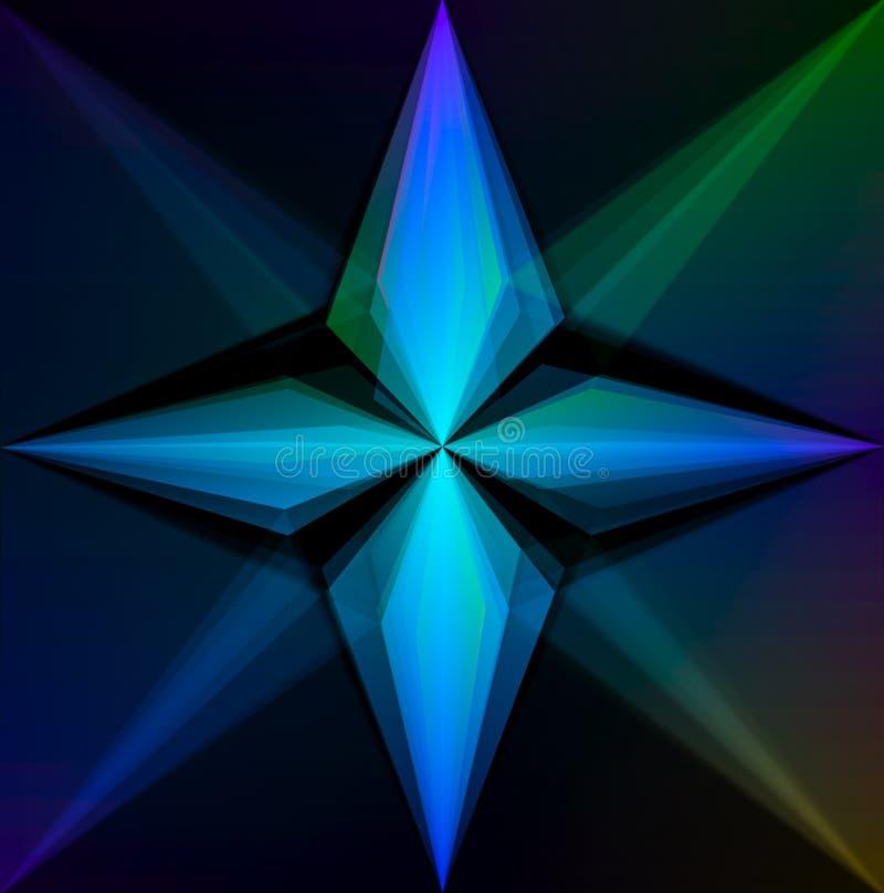 Una stella d'ardore di quattro punti su fondo graduato illustrazione vettoriale