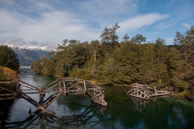 Una strada di sette laghi in angostura della La della villa, Argentina fotografie stock libere da diritti