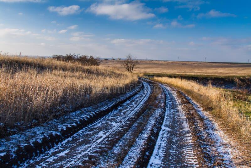 Una strada non asfaltata nella steppa di Taurida immagini stock libere da diritti