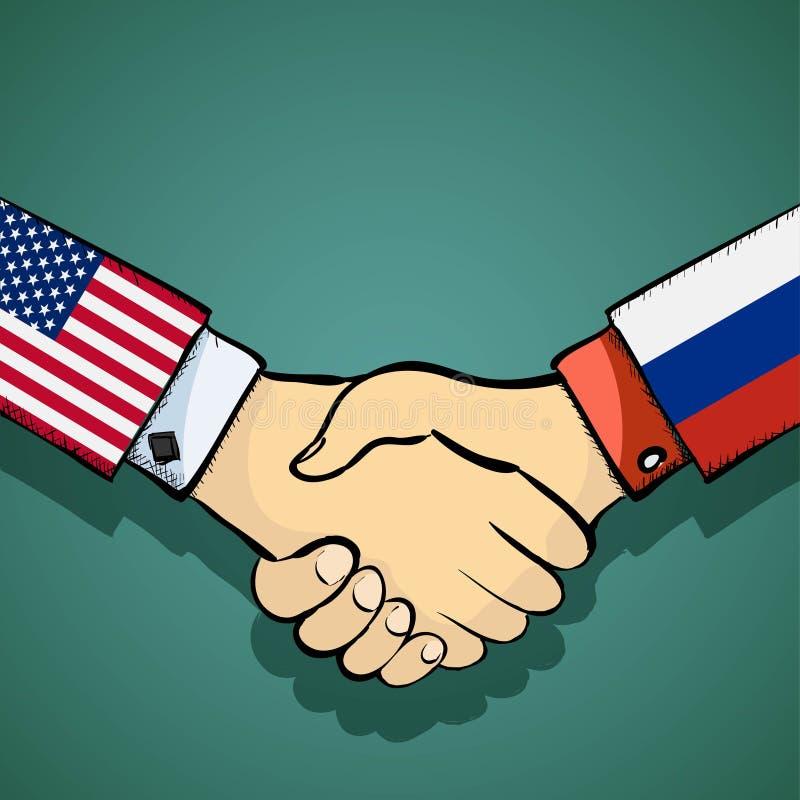 Una stretta di mano di due genti Politica fra U.S.A. e la Russia stoc royalty illustrazione gratis