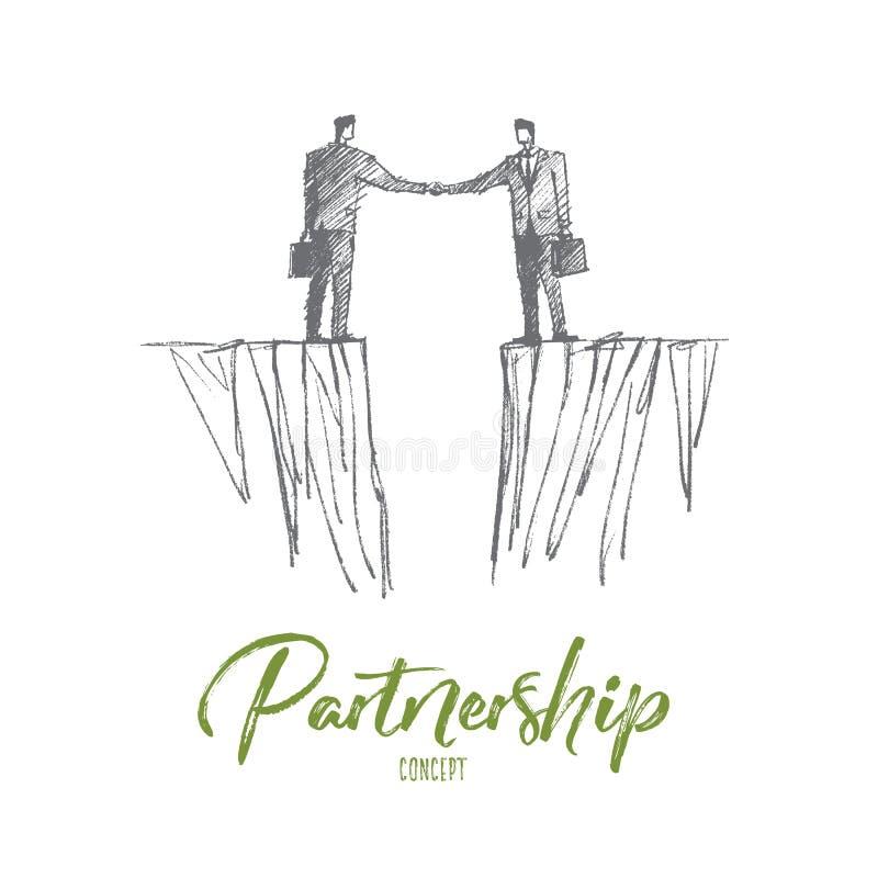 Una stretta di mano disegnata a mano di due uomini d'affari sopra la lacuna illustrazione vettoriale