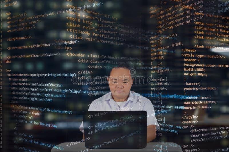 Una studentessa di sesso maschile con entusiasmo Sviluppatore Web che lavora di notte Camicetta immagine stock