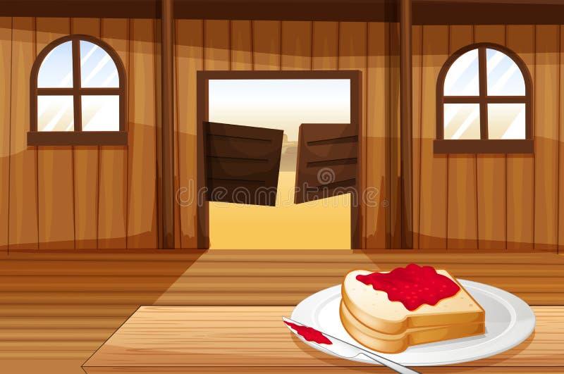 Una tabla con un bocadillo en una placa dentro de la barra de salón ilustración del vector