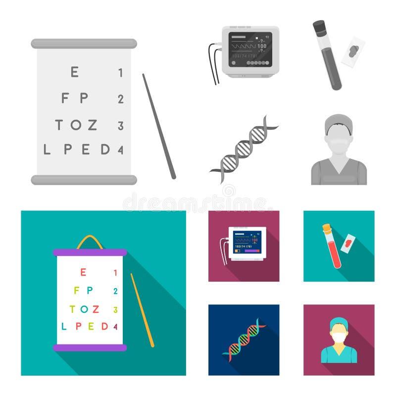 Una tabla de visión prueba, un análisis de sangre, un código de la DNA, un aparato de ECG Iconos determinados de la colección de  ilustración del vector
