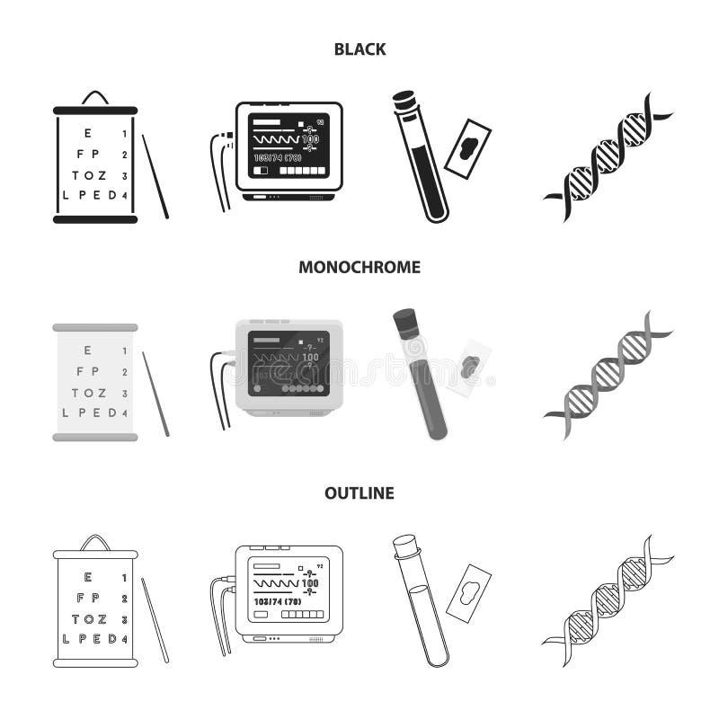 Una tabla de visión prueba, un análisis de sangre, un código de la DNA, un aparato de ECG Iconos determinados de la colección de  libre illustration