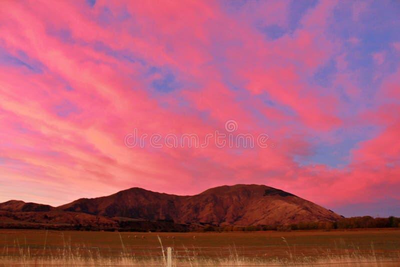 Una tarde rosada empapada en ambientes de la puesta del sol en Queenstown, Nueva Zelanda foto de archivo