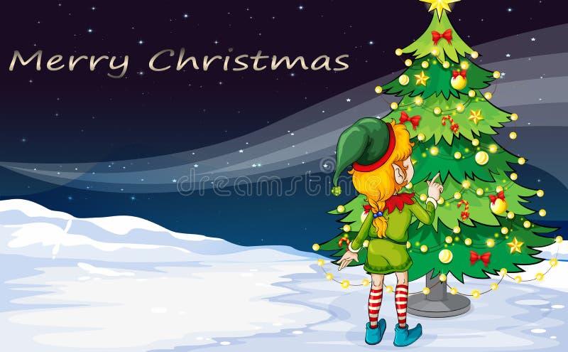 Una tarjeta con un duende que hace frente al árbol de navidad libre illustration