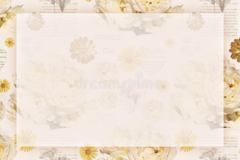 Una tarjeta de felicitación con el fondo romántico blando del vintage con las rosas para el día, el cumpleaños o la boda de las t stock de ilustración