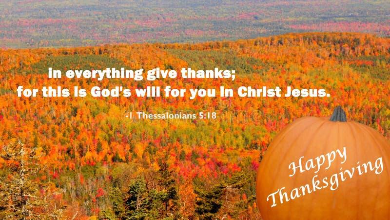 Una tarjeta de felicitación cristiana del día de la acción de gracias del mensaje imagen de archivo