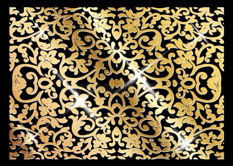 Una tarjeta de lujo del vector del vintage Fondo negro con los ornamentos y el marco hermosos del oro Decorativo adornado de oro  ilustración del vector