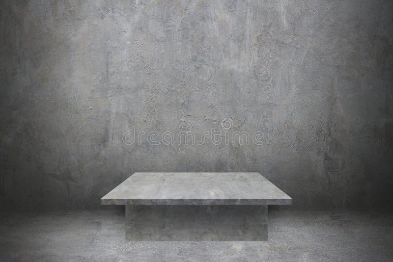 una tavola del cemento sul muro di cemento e sul pavimento per il modello e il desi fotografie stock