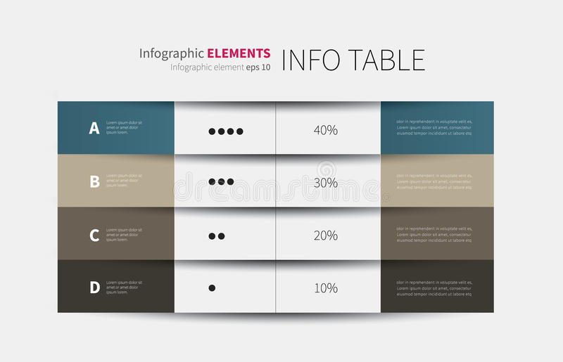 una tavola infographic di 4 colonne immagine stock libera da diritti