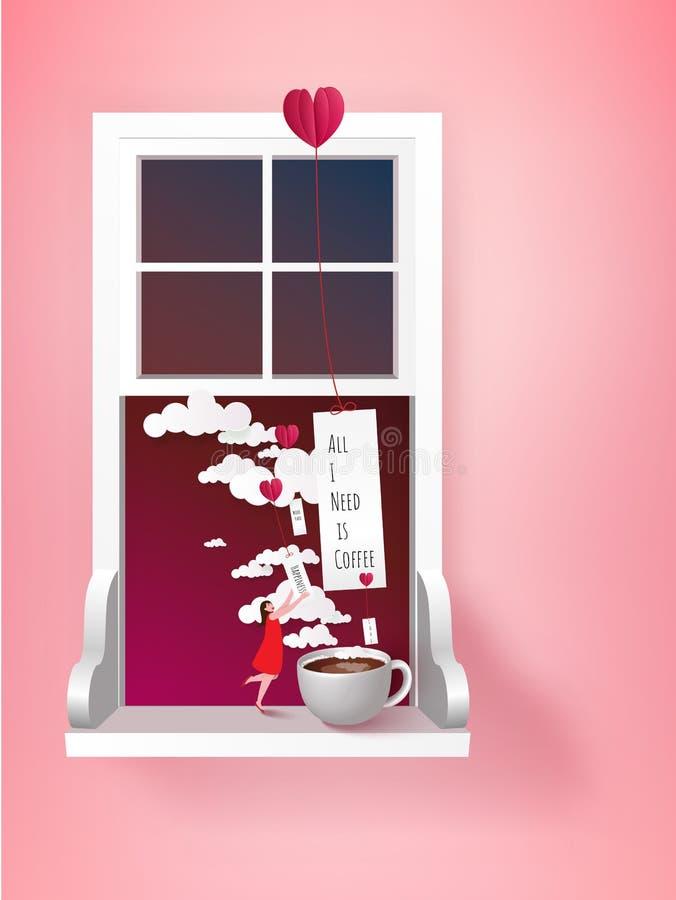 Una taza de café con la mujer minúscula café adictivo Surrealismo VE ilustración del vector