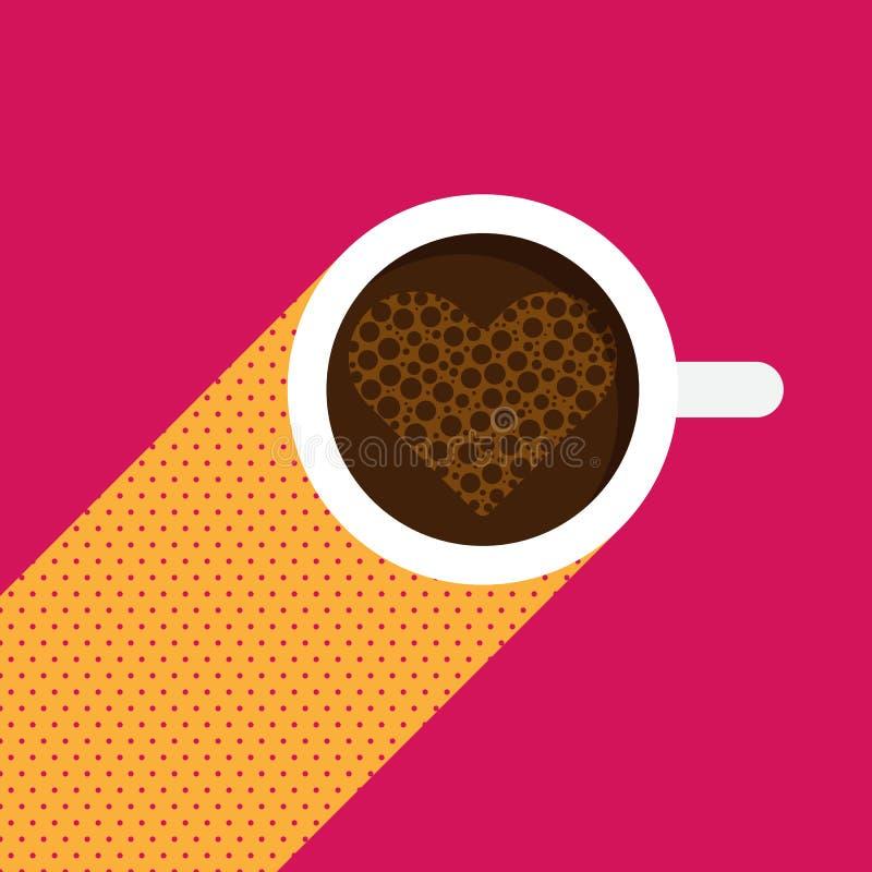 Una taza de café con los corazones en el diseño plano de tarjeta del día de San Valentín del concepto superior del día stock de ilustración