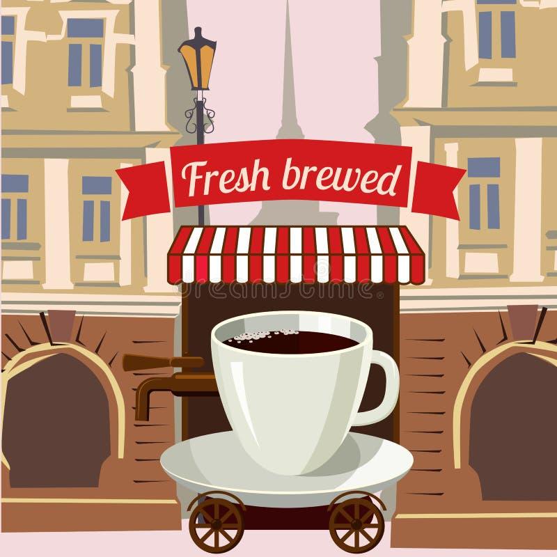 Una taza de café estilizó el café de la calle encendido rueda adentro la ciudad, historieta, ejemplo del vector stock de ilustración