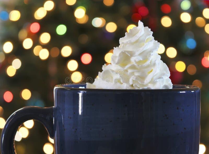 Una taza de chocolate caliente en la Navidad imágenes de archivo libres de regalías
