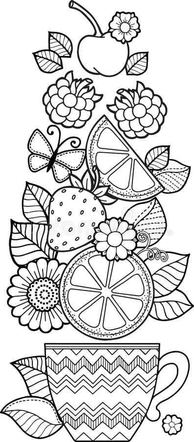 Una taza de infusión de hierbas y de café por un buen día Libro de colorear para el adulto libre illustration