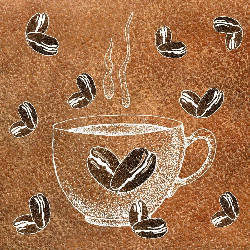 Una taza de la taza de caf? de la bebida, de t?, de etc calientes Y granos de caf? Ejemplo con un fondo de la acuarela para el di libre illustration