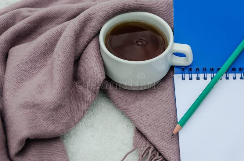 Una taza de té, de una bufanda caliente, de un cuaderno y de un lápiz imágenes de archivo libres de regalías