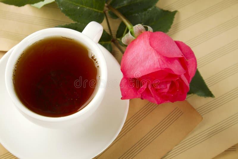 Una taza de té y se levantó fotos de archivo