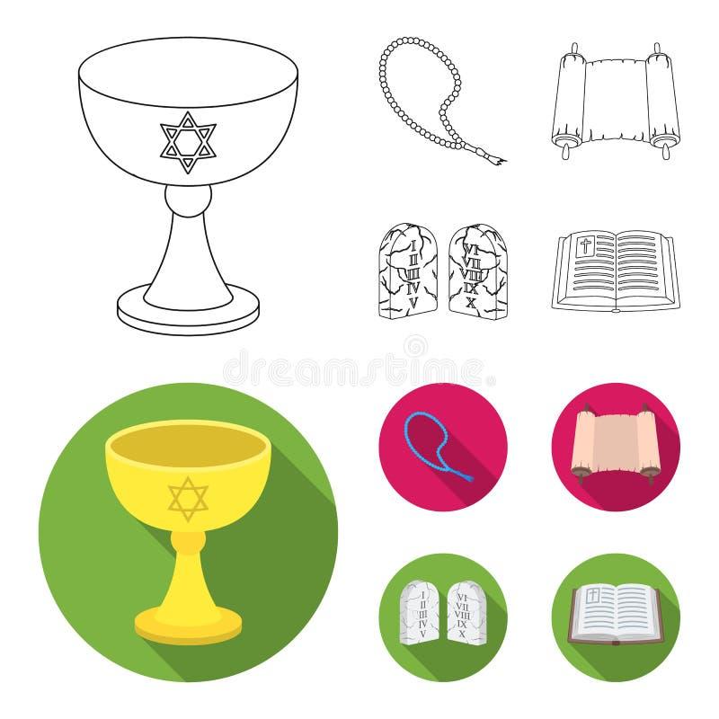 Una taza de vino, gotas islámicas, diez mandamientos, tanakh Iconos determinados de la colección de la religión en el esquema, ve stock de ilustración