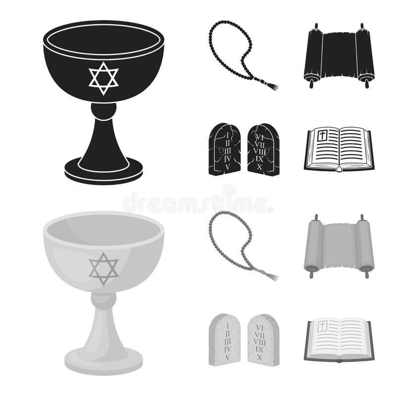 Una taza de vino, gotas islámicas, diez mandamientos, tanakh Iconos determinados de la colección de la religión en el negro, vect stock de ilustración