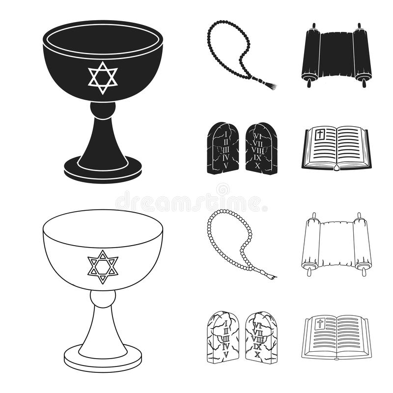 Una taza de vino, gotas islámicas, diez mandamientos, tanakh Iconos determinados de la colección de la religión en el negro, vect ilustración del vector