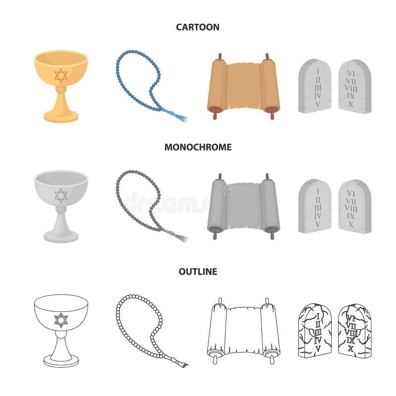 Una taza de vino, gotas islámicas, diez mandamientos, tanakh Iconos determinados de la colección de la religión en la historieta, stock de ilustración