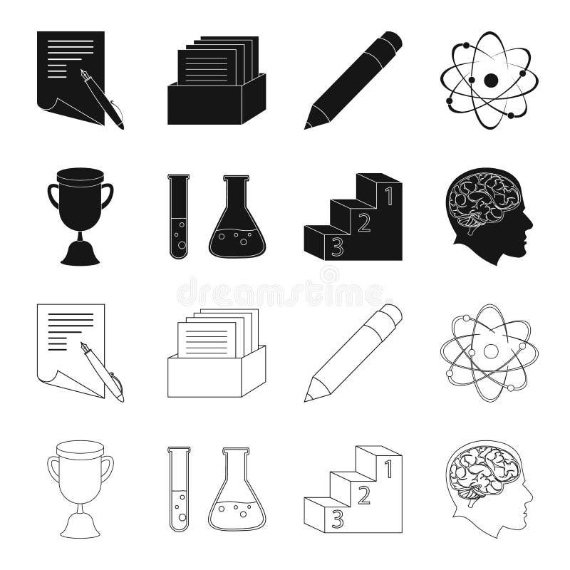 Una taza, tubos de ensayo con un reactivo, un pedestal, una cabeza del hombre con un cerebro Iconos determinados de la colección  libre illustration