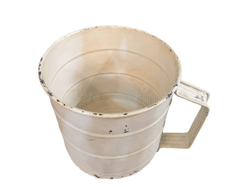Una taza vieja del metal blanco foto de archivo libre de regalías